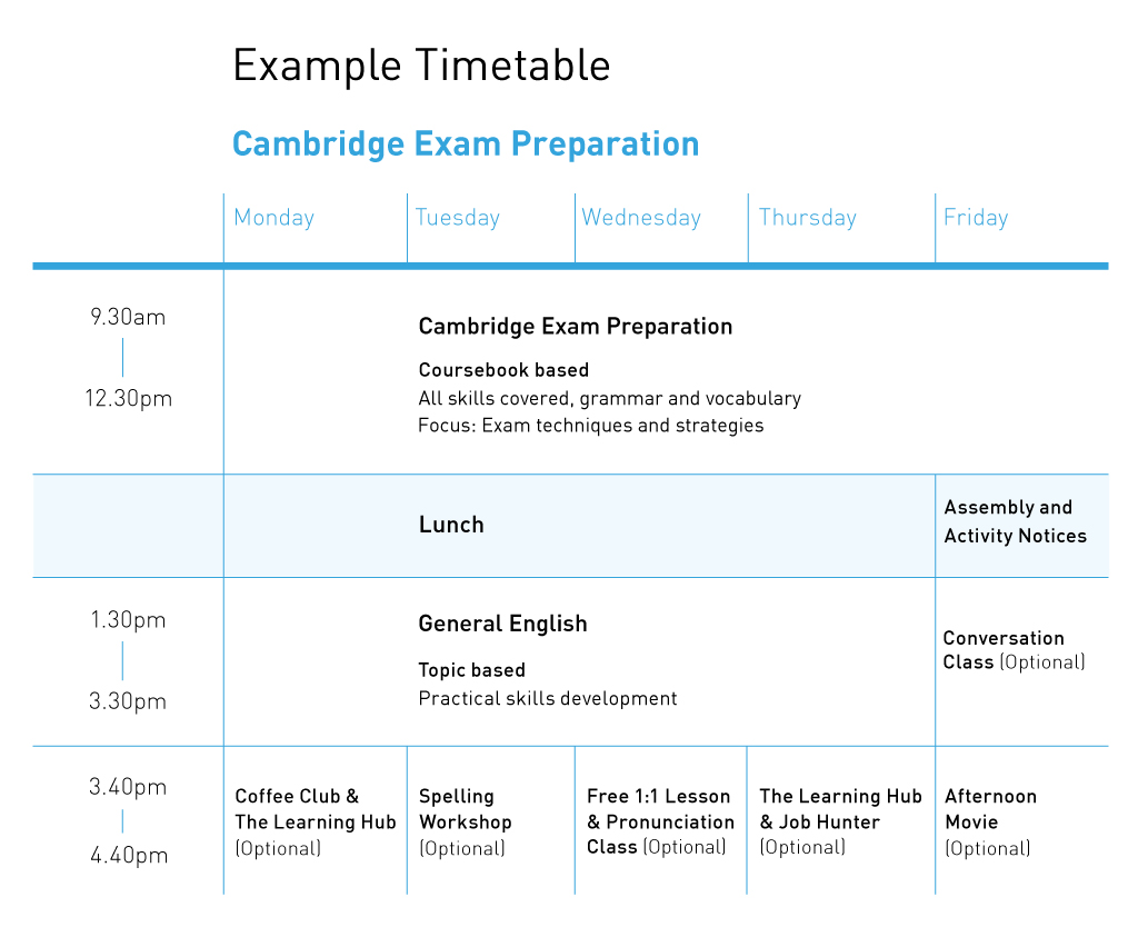 Cambridge Example Timetable