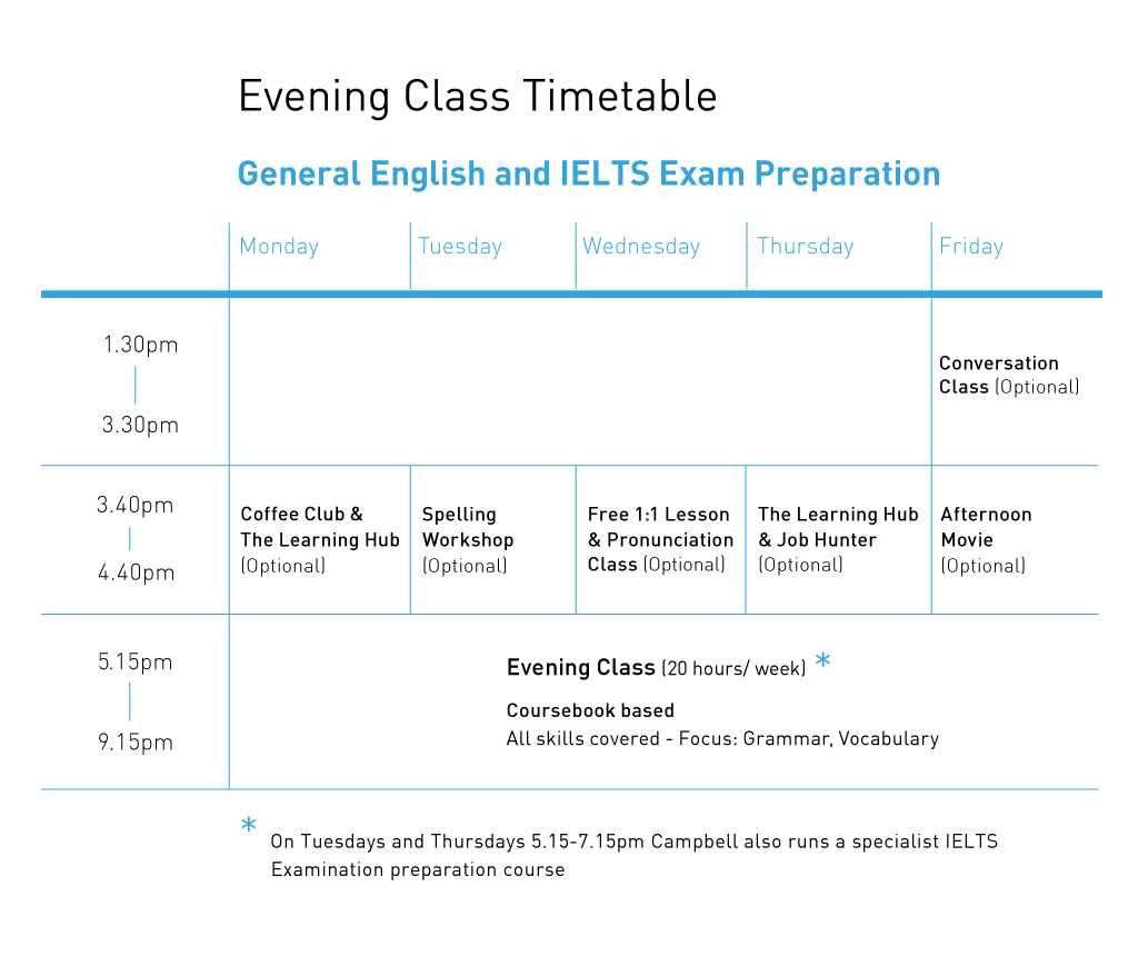 Evening Class timetable