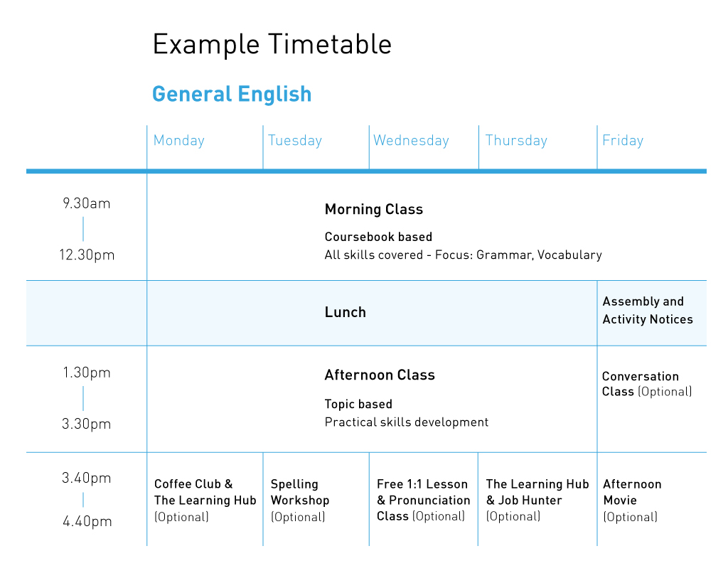 General English Example Timetable