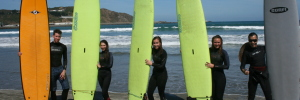 Campbell Students Surfing at Lyall Bay