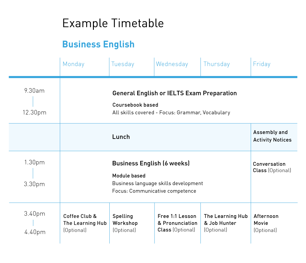 Business English Example Timetable